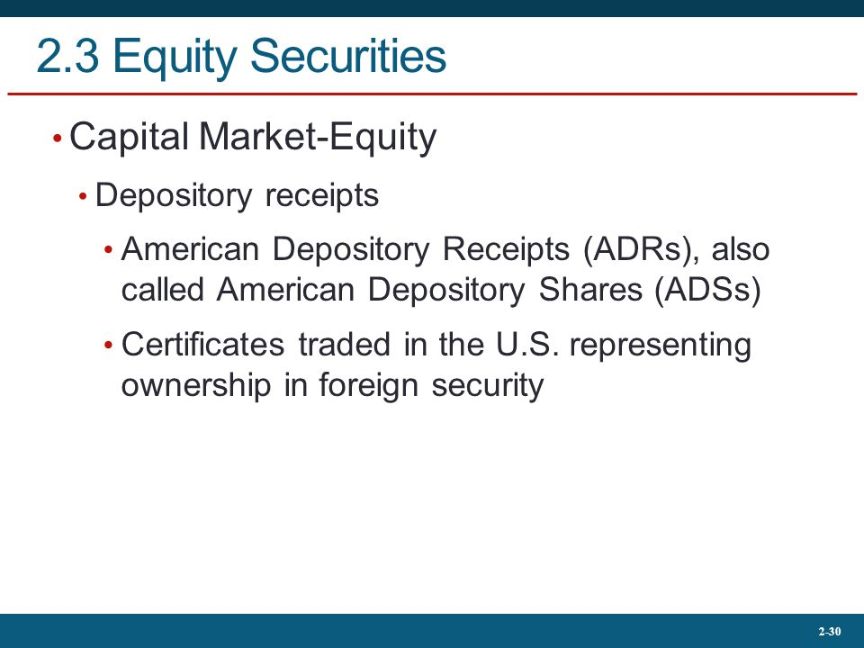 2.3 Equity Securities Capital Market-Equity Depository receipts