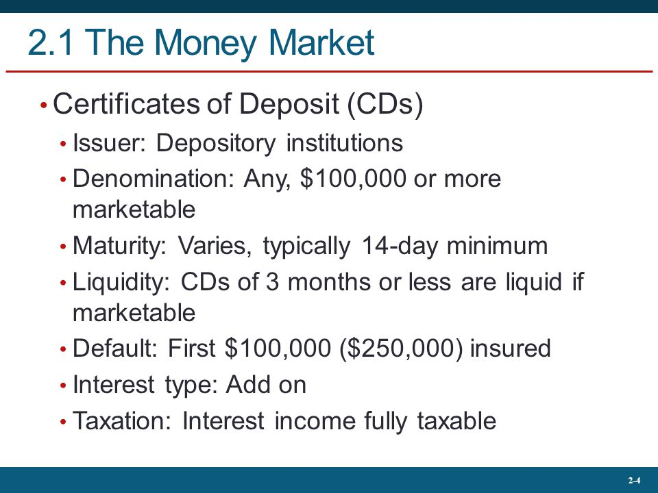 2.1 The Money Market Certificates of Deposit (CDs)