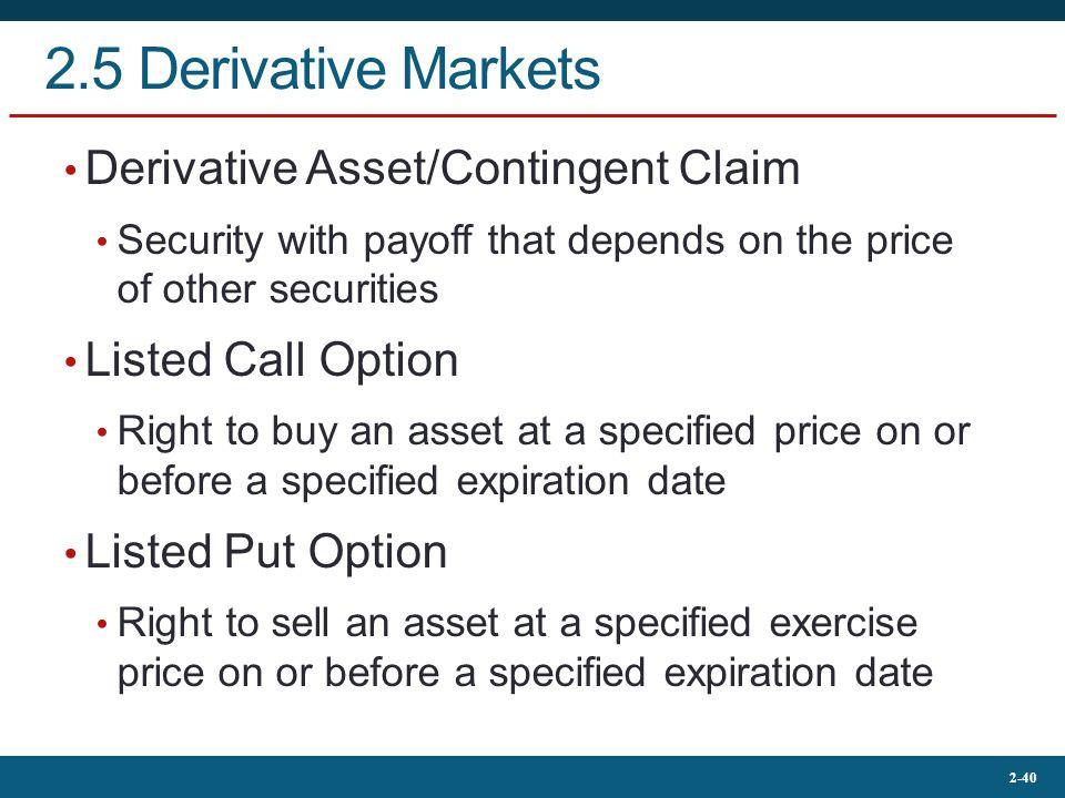 2.5 Derivative Markets Derivative Asset/Contingent Claim