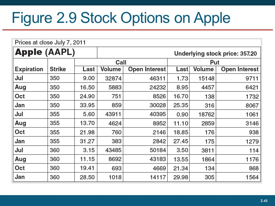 Figure 2.9 Stock Options on Apple