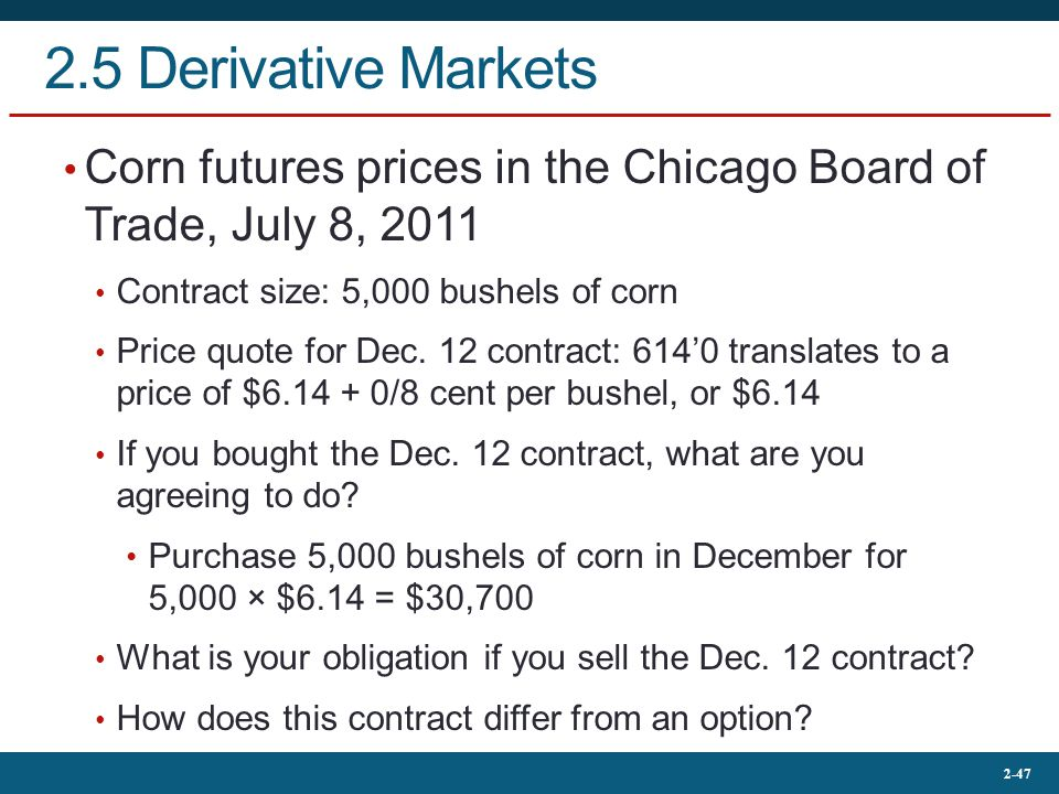 2.5 Derivative Markets Corn futures prices in the Chicago Board of Trade, July 8, 2011. Contract size: 5,000 bushels of corn.