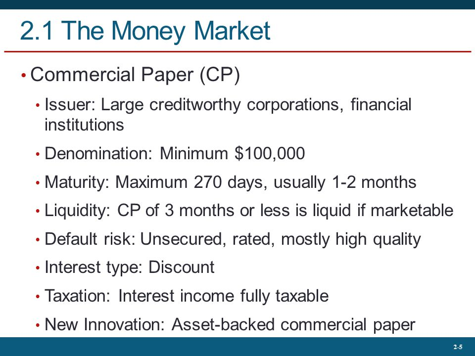 2.1 The Money Market Commercial Paper (CP)
