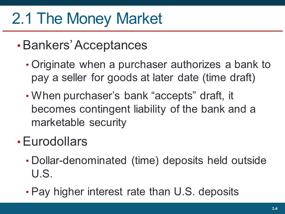 2.1 The Money Market Bankers' Acceptances Eurodollars
