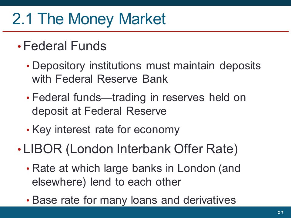 2.1 The Money Market Federal Funds LIBOR (London Interbank Offer Rate)