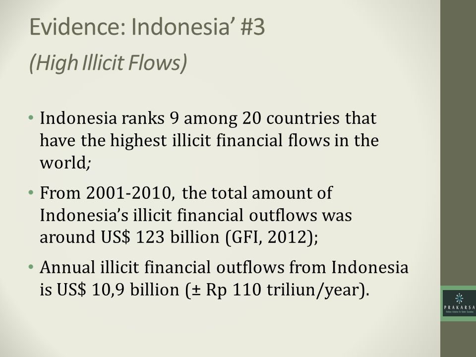 Evidence: Indonesia' #3 (High Illicit Flows)