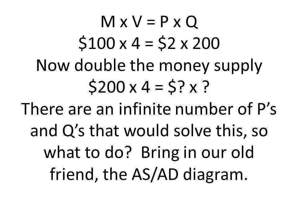 M x V = P x Q $100 x 4 = $2 x 200 Now double the money supply $200 x 4 = $.
