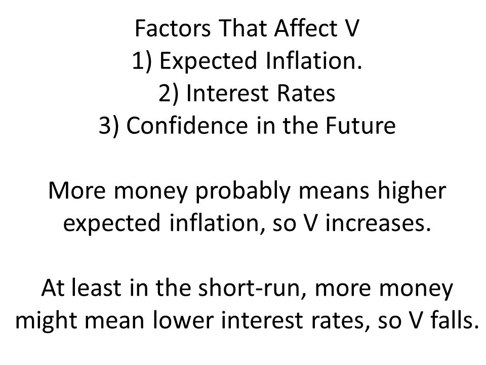 Factors That Affect V 1) Expected Inflation