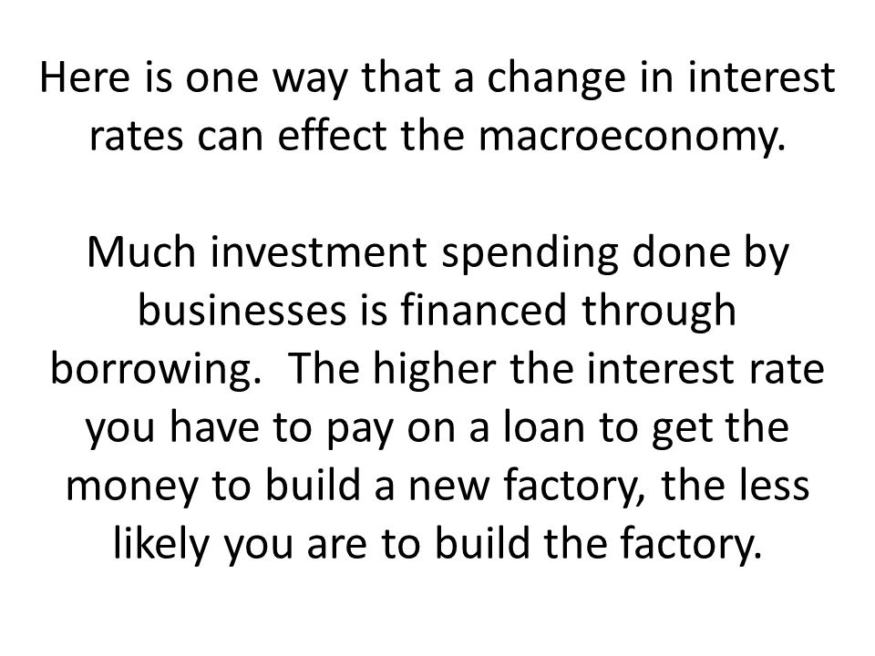 Here is one way that a change in interest rates can effect the macroeconomy.