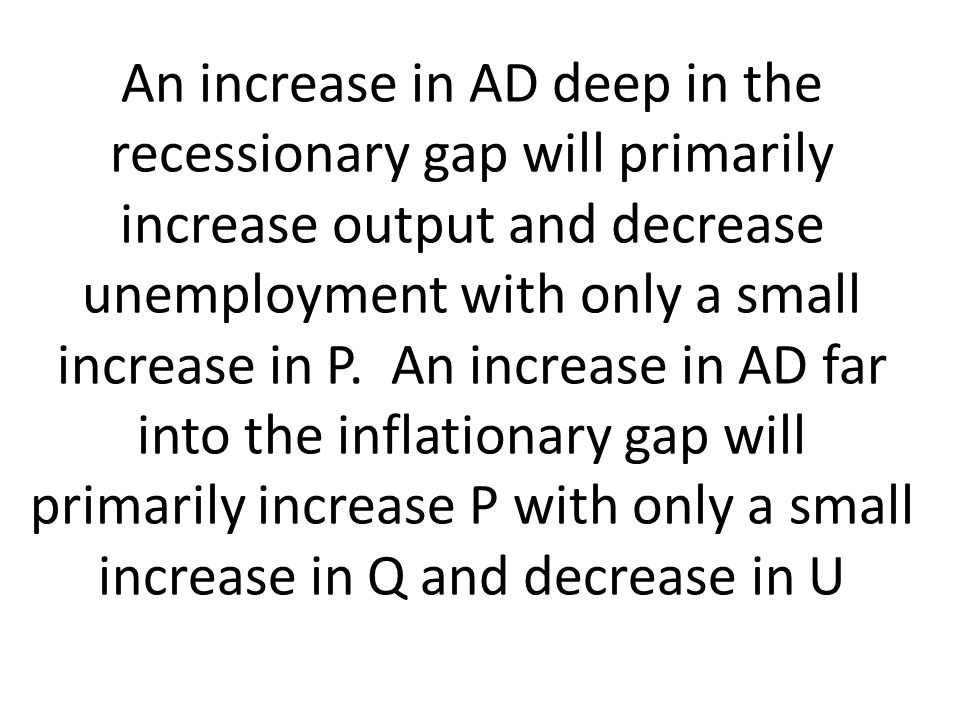 An increase in AD deep in the recessionary gap will primarily increase output and decrease unemployment with only a small increase in P.