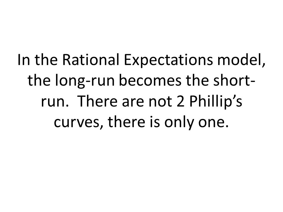 In the Rational Expectations model, the long-run becomes the short-run