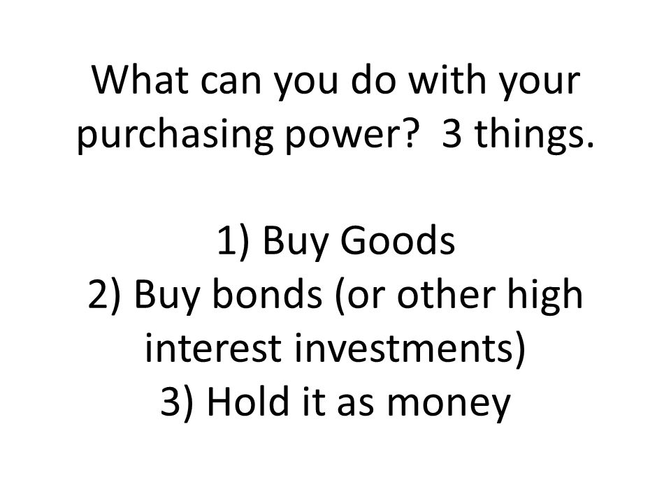 What can you do with your purchasing power. 3 things
