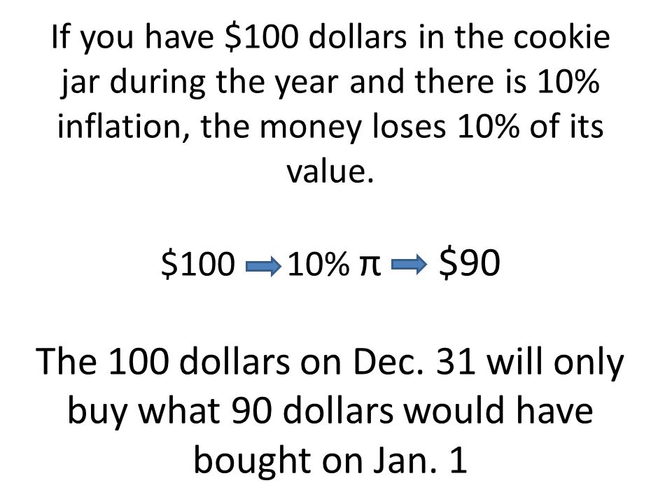 If you have $100 dollars in the cookie jar during the year and there is 10% inflation, the money loses 10% of its value.