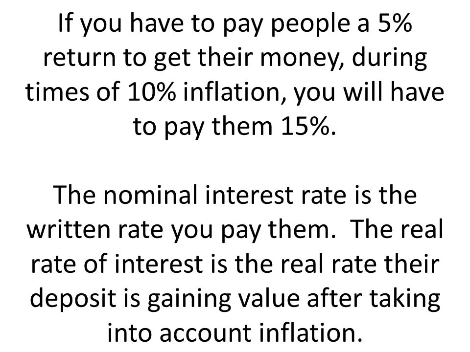 If you have to pay people a 5% return to get their money, during times of 10% inflation, you will have to pay them 15%.