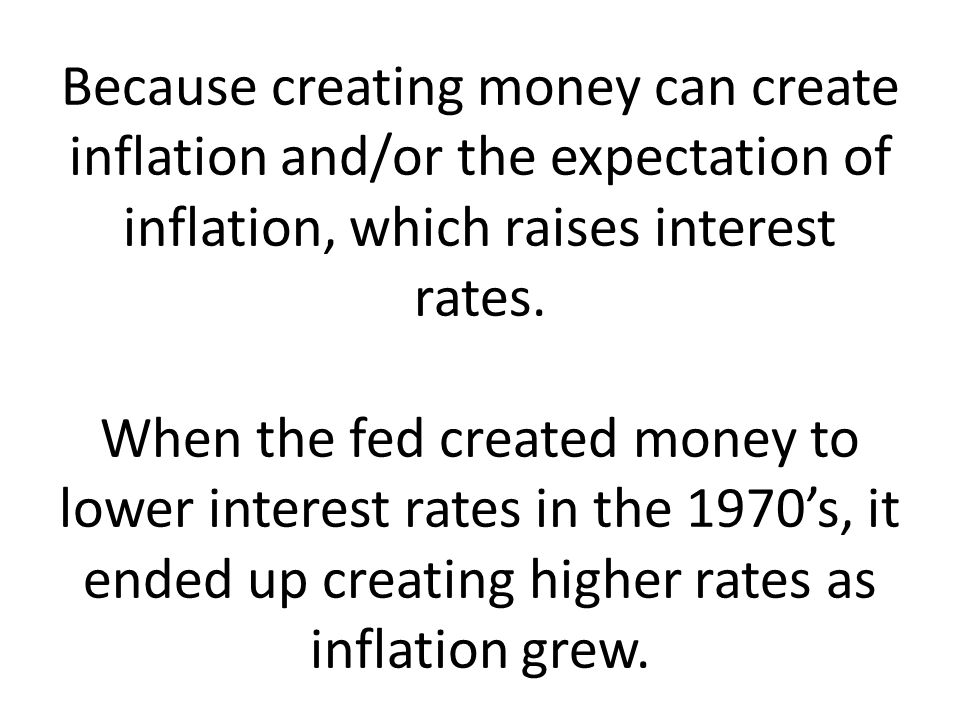 Because creating money can create inflation and/or the expectation of inflation, which raises interest rates.