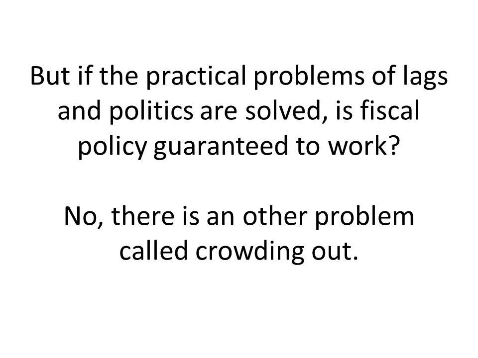 But if the practical problems of lags and politics are solved, is fiscal policy guaranteed to work.