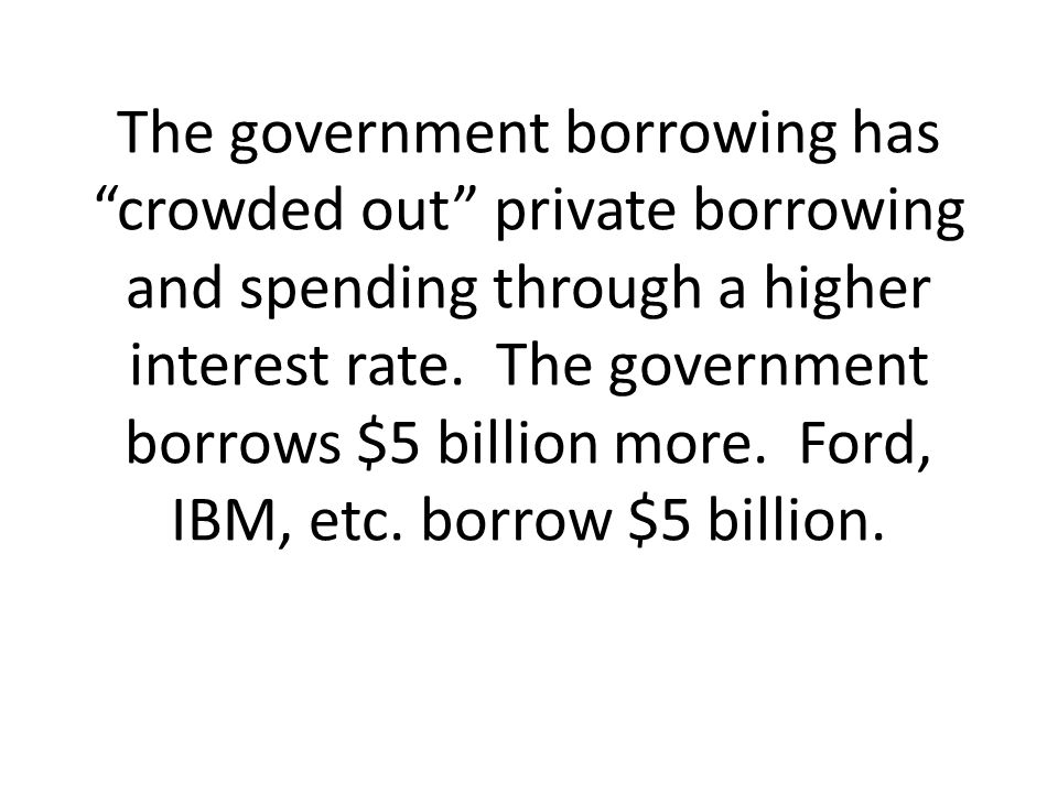 The government borrowing has crowded out private borrowing and spending through a higher interest rate.