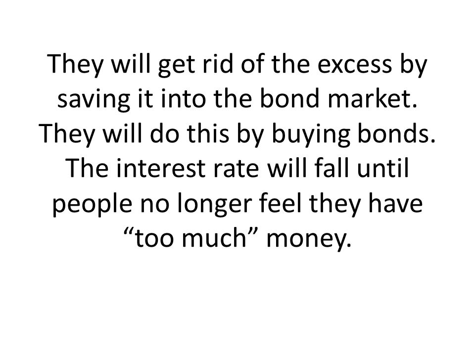 They will get rid of the excess by saving it into the bond market