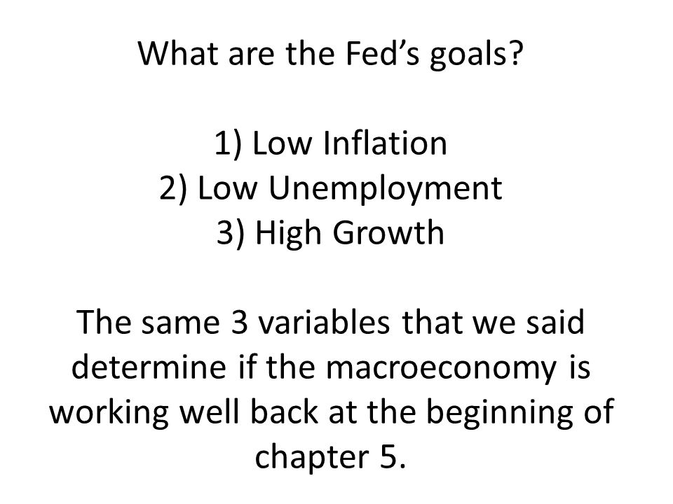 What are the Fed's goals