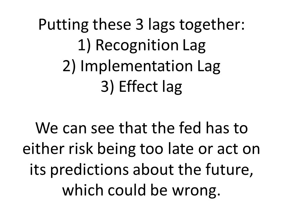 Putting these 3 lags together: 1) Recognition Lag 2) Implementation Lag 3) Effect lag We can see that the fed has to either risk being too late or act on its predictions about the future, which could be wrong.