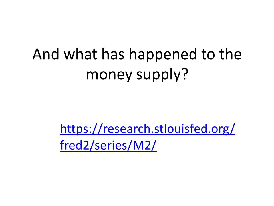 And what has happened to the money supply