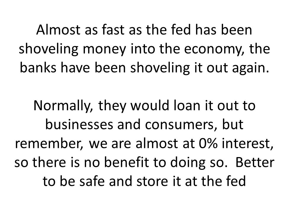 Almost as fast as the fed has been shoveling money into the economy, the banks have been shoveling it out again.