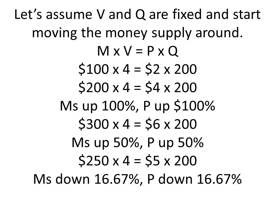 Let's assume V and Q are fixed and start moving the money supply around.
