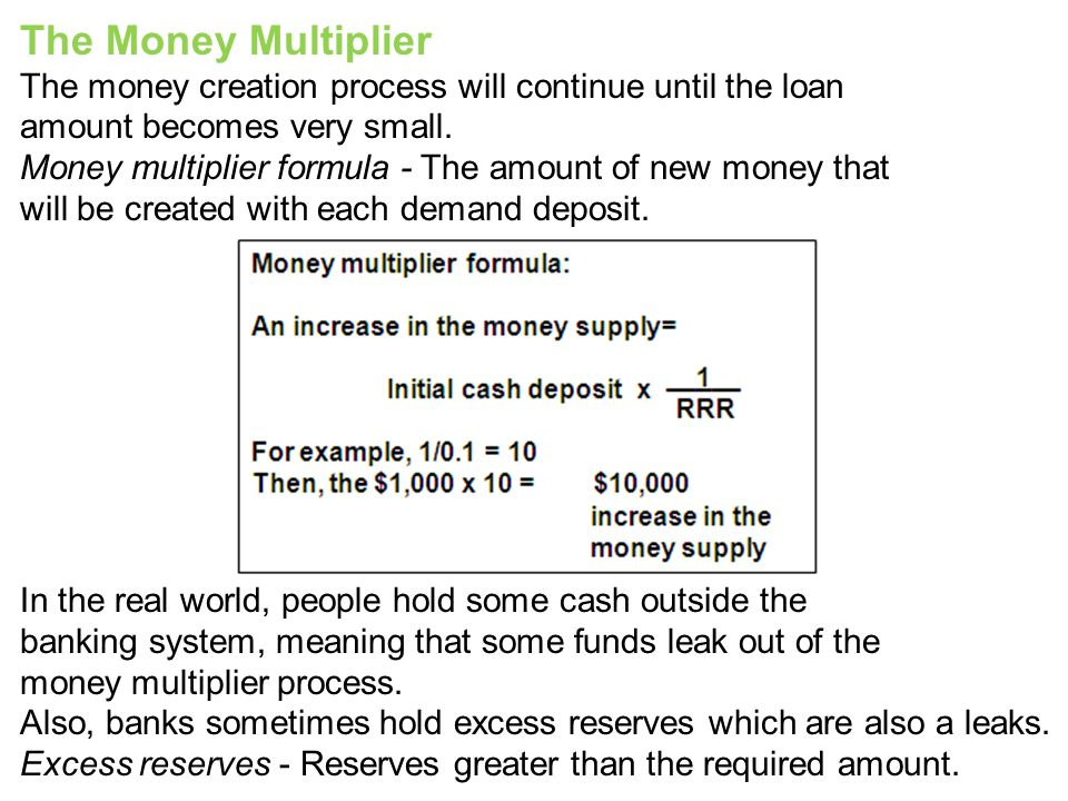 The Money Multiplier The money creation process will continue until the loan. amount becomes very small.