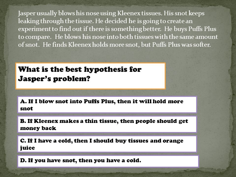 What is the best hypothesis for Jasper's problem