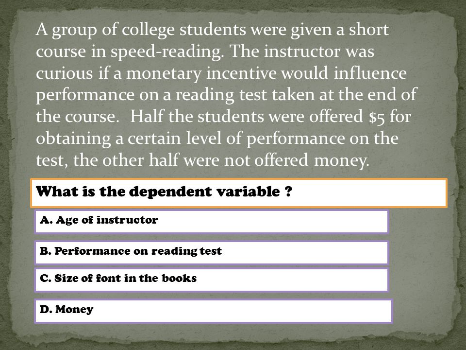 A group of college students were given a short course in speed-reading