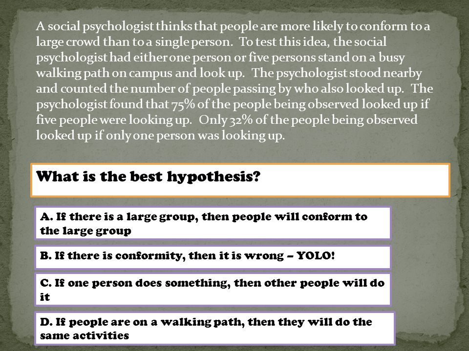 What is the best hypothesis