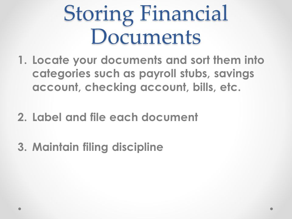 Storing Financial Documents