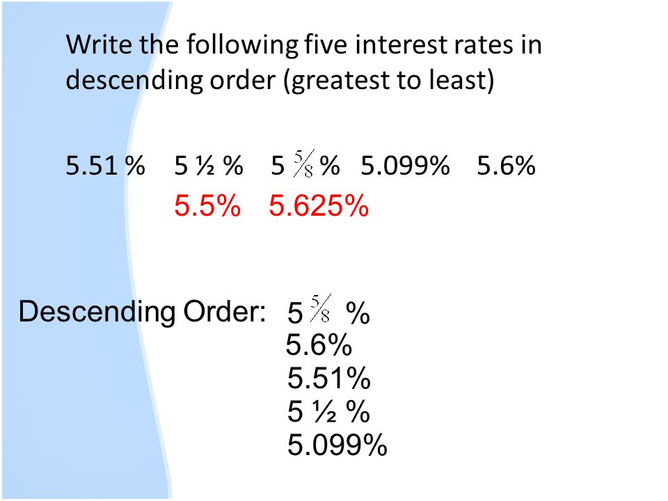 Write the following five interest rates in descending order (greatest to least) 5.51 % 5 ½ % 5 % 5.099% 5.6%