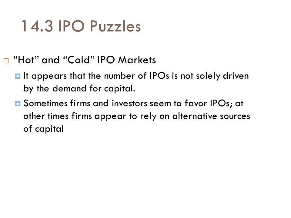 14.3 IPO Puzzles Hot and Cold IPO Markets