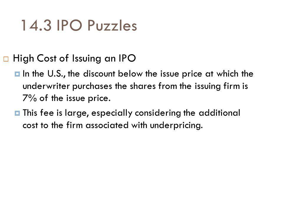 14.3 IPO Puzzles High Cost of Issuing an IPO