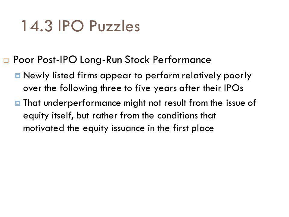 14.3 IPO Puzzles Poor Post-IPO Long-Run Stock Performance