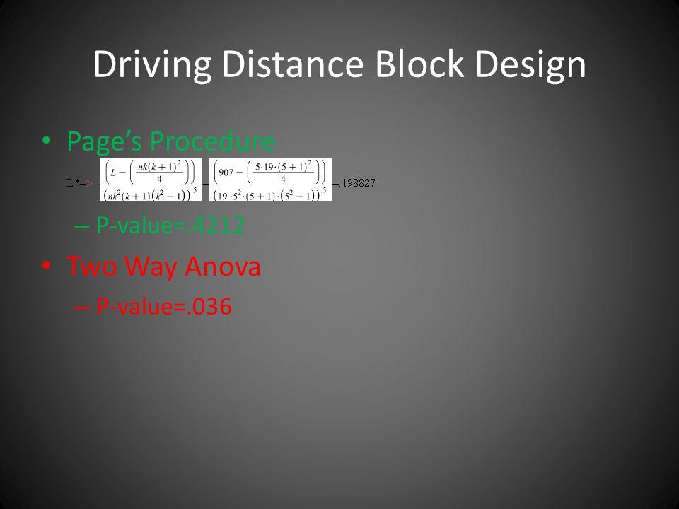 Driving Distance Block Design