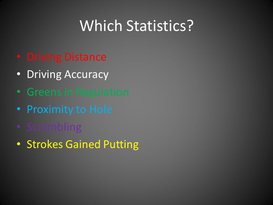 Which Statistics Driving Distance Driving Accuracy