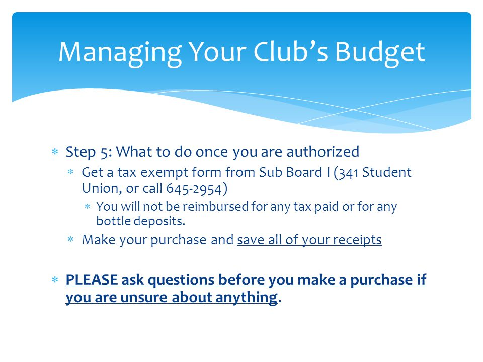 Managing Your Club's Budget