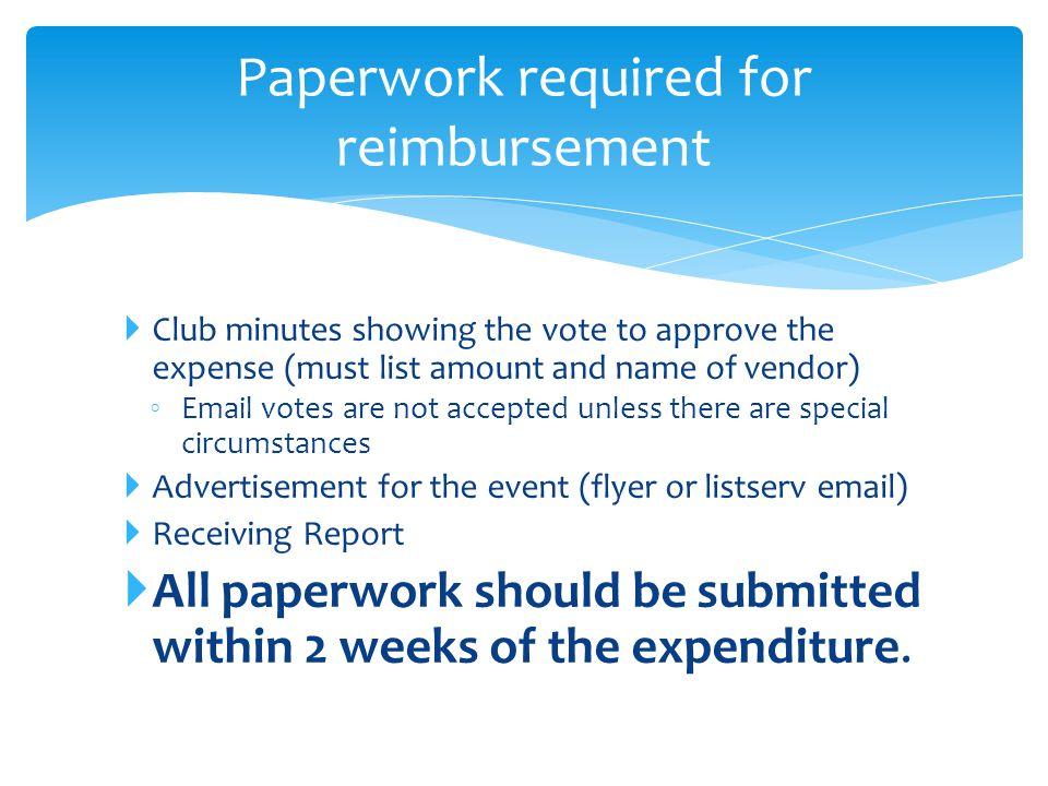 Paperwork required for reimbursement