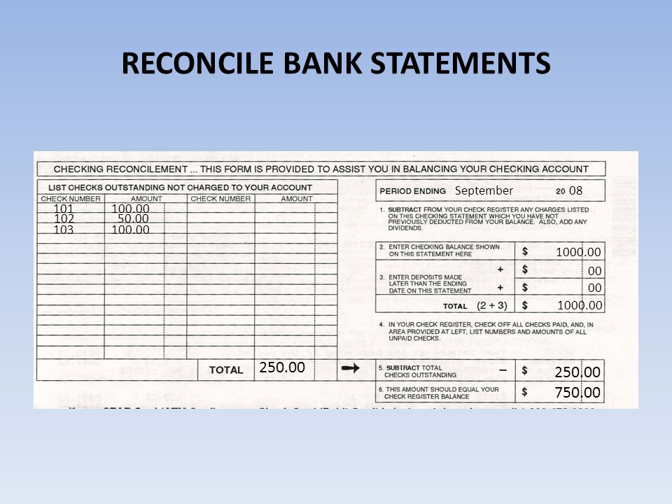 RECONCILE BANK STATEMENTS