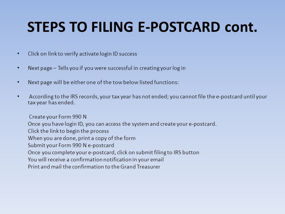 STEPS TO FILING E-POSTCARD cont.