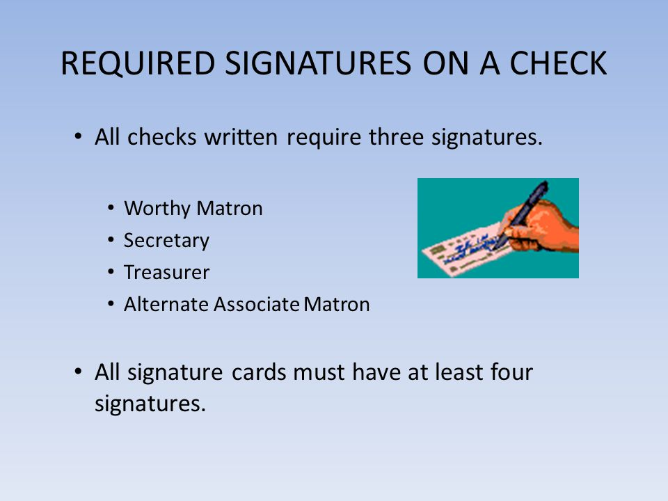 REQUIRED SIGNATURES ON A CHECK