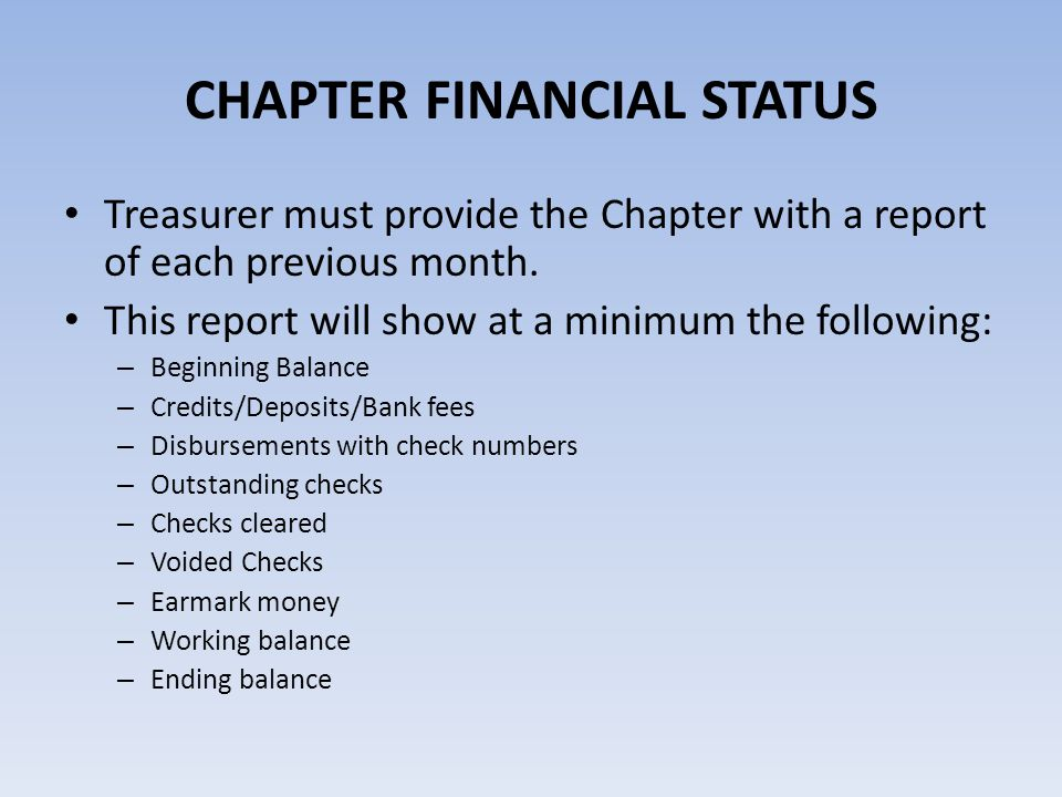 CHAPTER FINANCIAL STATUS