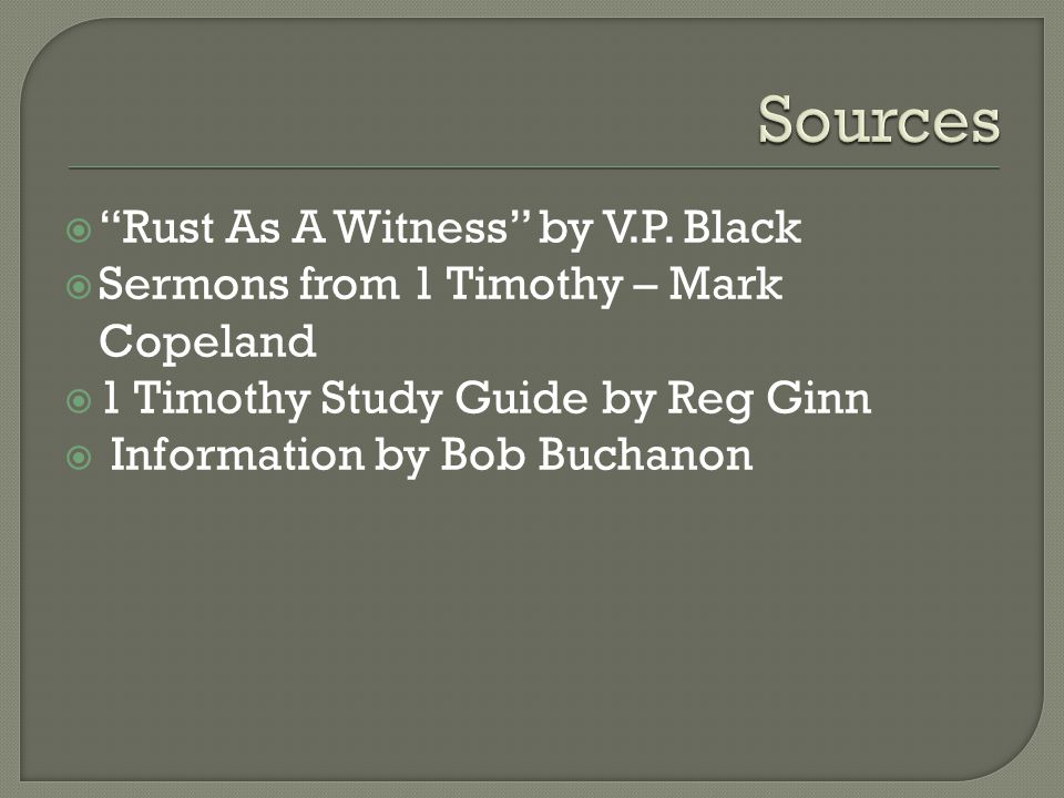 Sources Rust As A Witness by V.P. Black