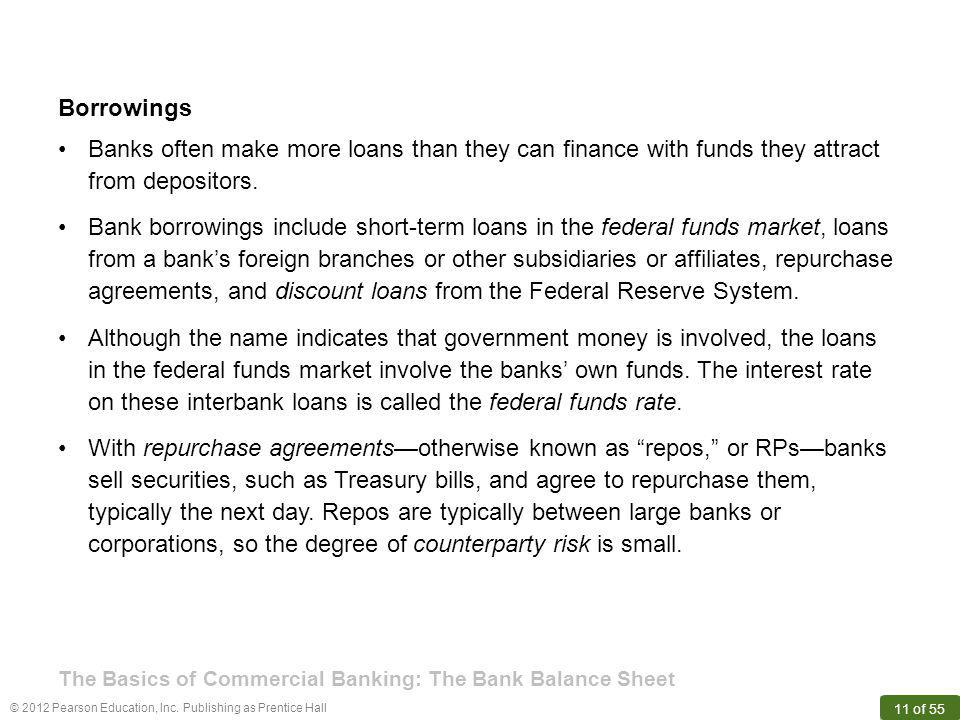 Borrowings Banks often make more loans than they can finance with funds they attract from depositors.