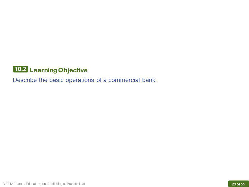 10.2 Learning Objective Describe the basic operations of a commercial bank.