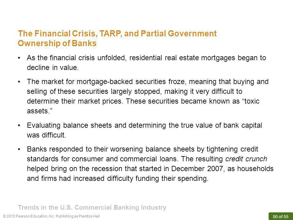 The Financial Crisis, TARP, and Partial Government Ownership of Banks