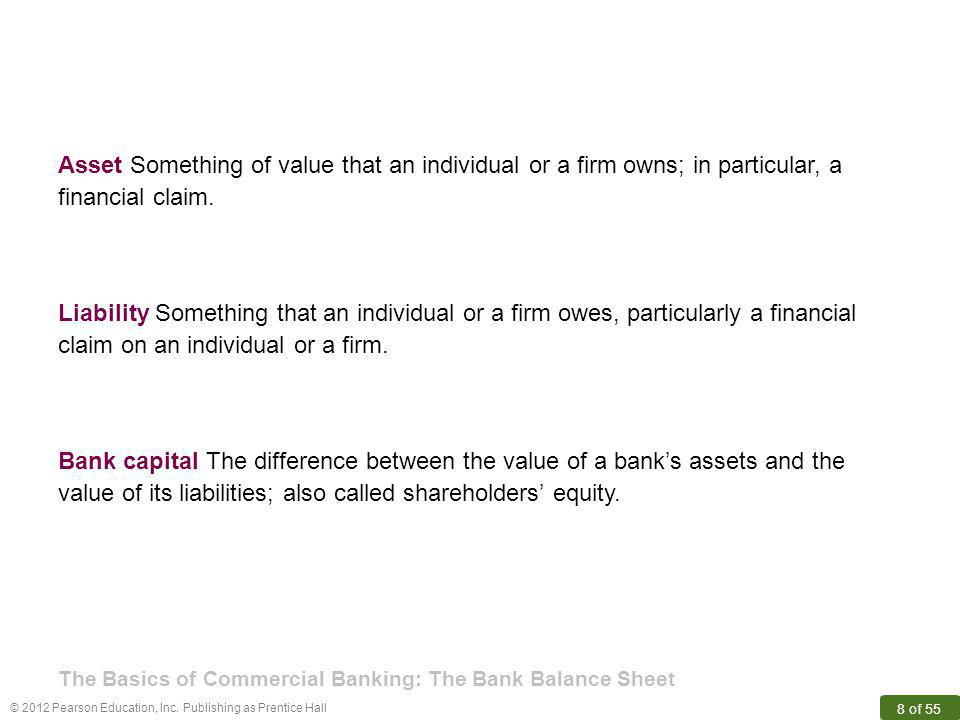 value of its liabilities; also called shareholders' equity.