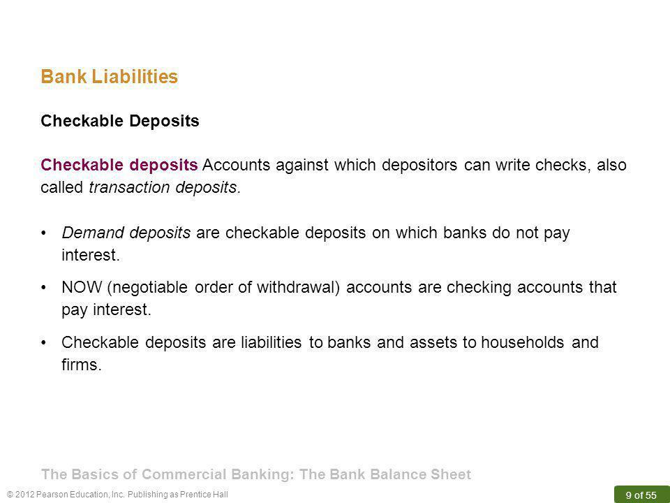 Bank Liabilities Checkable Deposits