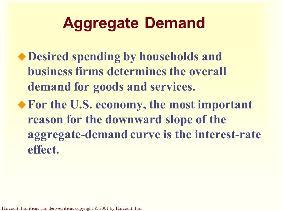 Aggregate Demand Desired spending by households and business firms determines the overall demand for goods and services.